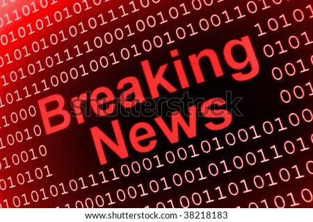 Breaking News Sign in red color - stock photo