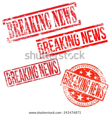 Breaking news stamps. Different shape rubber stamp illustrations  - stock photo