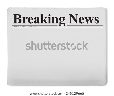 Breaking news title on newspaper - stock photo