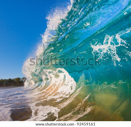 Breaking Ocean Wave Crashing over Camera - stock photo