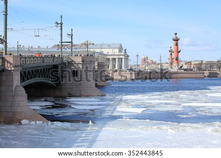 Breaking of the ice on the river Neva in St. Petersburg, Russia. - stock photo