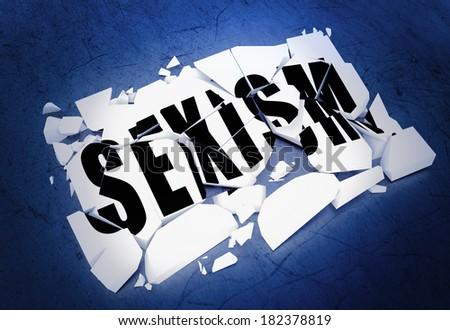 Breaking sexism - stock photo