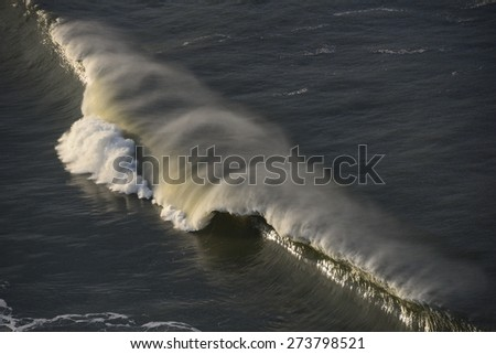 Breaking swell in Nazare, Portugal.
