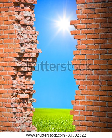 Breaking wall freedom concept - stock photo