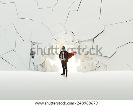 Breaking wall leadership concept - stock photo