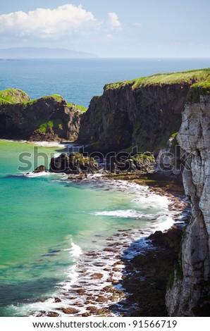 breaking wave in the sea , Northern Ireland - stock photo