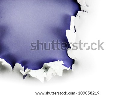 Breakthrough paper hole with purple background, isolated on white.