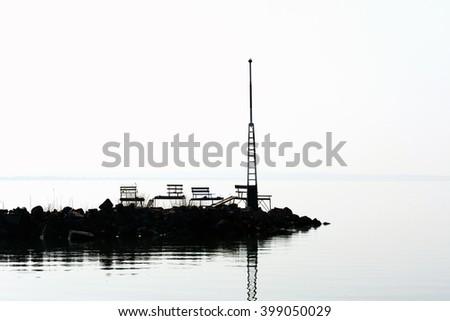 Breakwater at Lake Balaton,  Hungary - stock photo