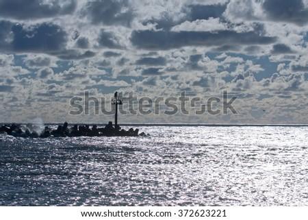 Breakwater of Klaipeda port on the Baltic Sea - stock photo