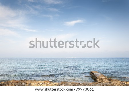 Breakwater. Picture taken in Santa Pola town. It is a coastal town located in the comarca of Baix Vinalopo, in the Valencian Community, Alicante, Spain, by the Mediterranean Sea. - stock photo