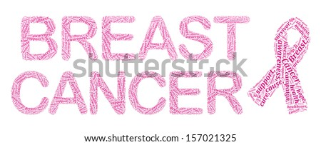 Breast cancer awareness info-text graphics and arrangement concept on white background - stock photo
