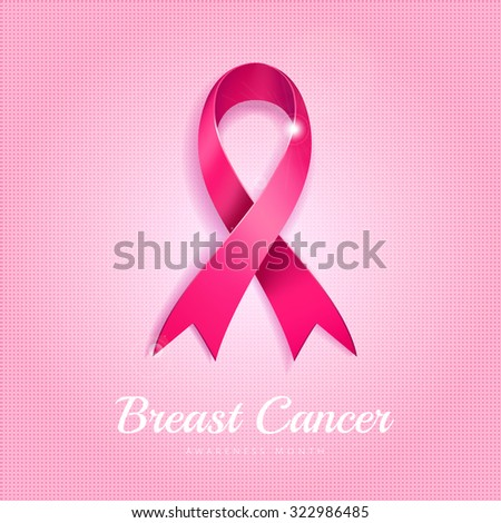 Breast cancer awareness month pink ribbon on pink dotted halftone background.  - stock photo
