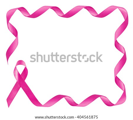 Breast Cancer Awareness Pink Ribbon frame with copy space - stock photo