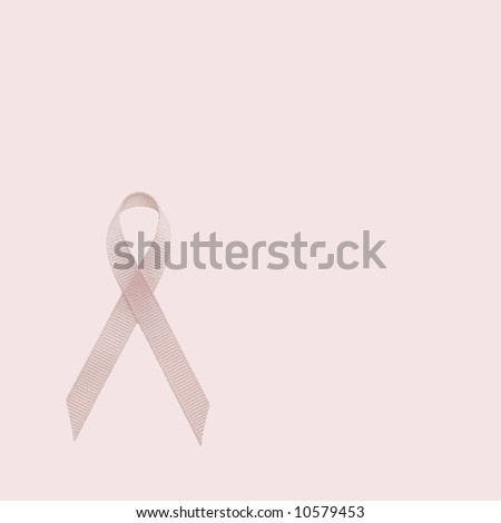 Breast Cancer Awareness Pink Ribbon on Pink Background - stock photo