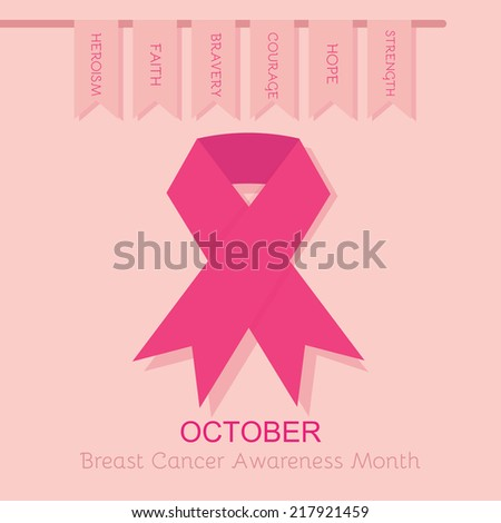 Breast Cancer Awareness pink ribbon poster - with hanging flags on pink background - stock photo