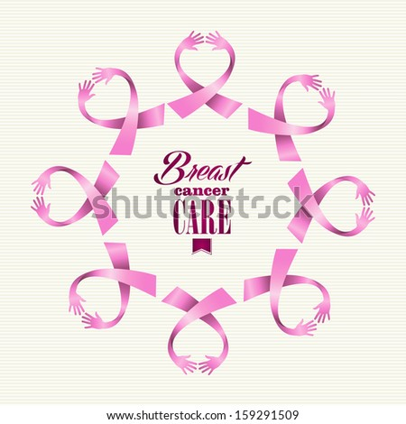 Breast cancer awareness ribbon elements women hands circle shape composition. - stock photo