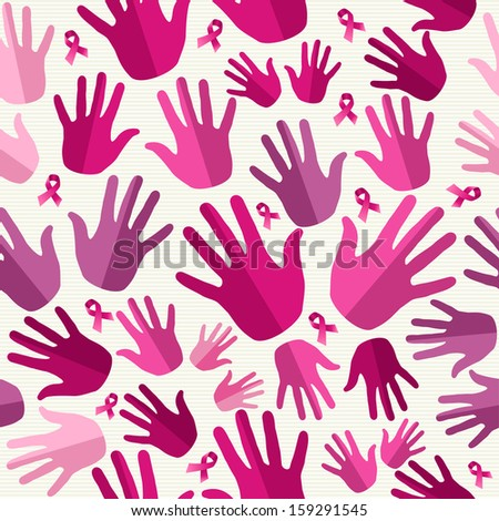 Breast cancer awareness ribbon elements women hands seamless pattern background. - stock photo