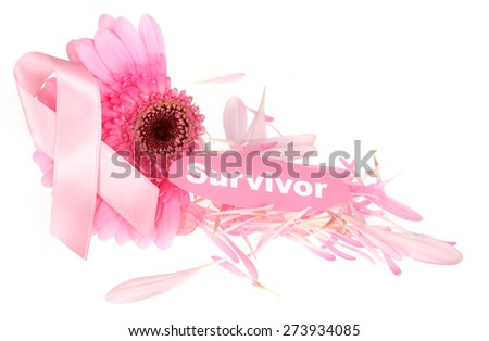 Breast Cancer Awareness with damaged flower - stock photo