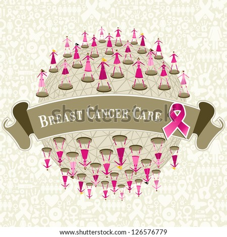 Breast cancer care globe awareness with women teamwork on icon set background. - stock photo
