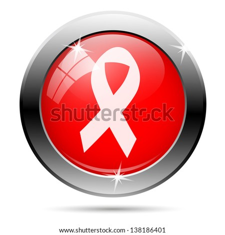 Breast cancer icon, ribbon with white on red background - stock photo
