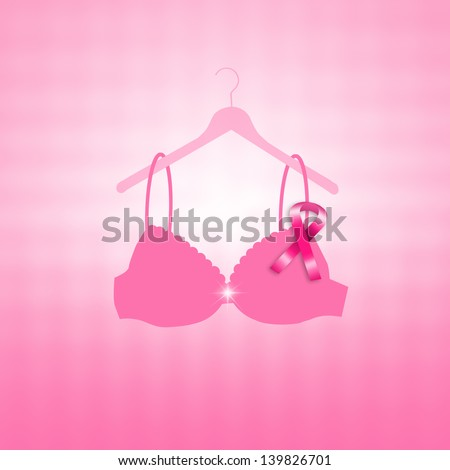 Breast cancer prevention with pink ribbon - stock photo