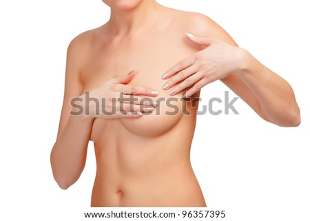 Breast cancer, woman touching her breasts, isolated on white background - stock photo