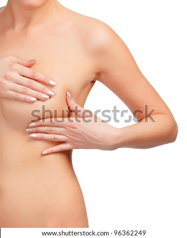 Breast cancer, woman touching her breasts, isolated on white background. - stock photo
