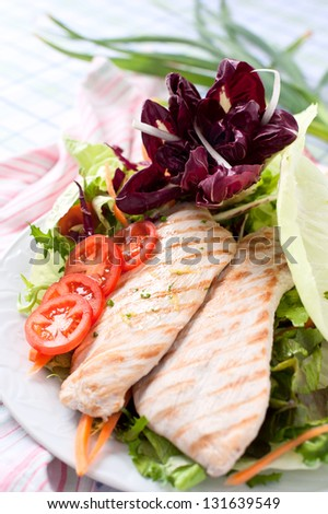 Breast of chicken with fresh salad and red cabbage - stock photo