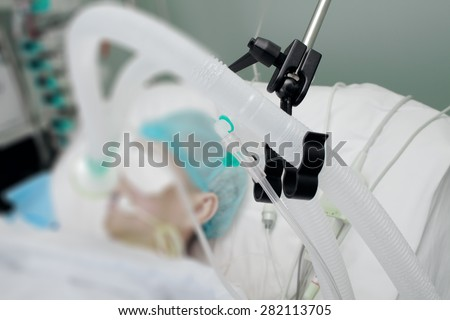 Breathing circuit of patient on the ventilator in ICU