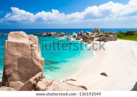 Breathtaking Empty Beach on La Digue,Seychelles - stock photo
