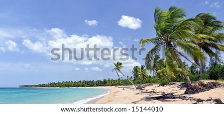 Breathtaking hi-resolution tropical beach panorama with a lot of copy-space, ideal for summer travel themes - stock photo