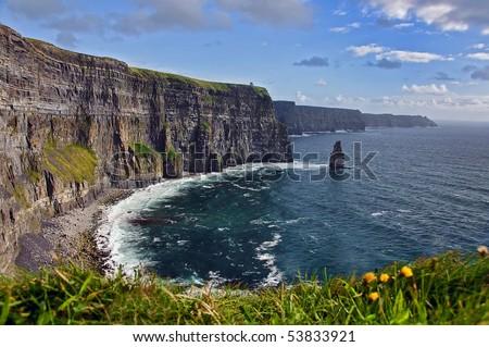 breathtaking irish seascape famous cliffs mohair, west of ireland - stock photo