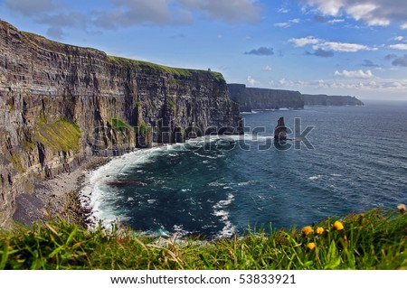 breathtaking irish seascape landscape famous cliffs mohair moher, west of ireland. moher wild atlantic way. county clare ireland countryside nature rural background. tourism ireland landmark.