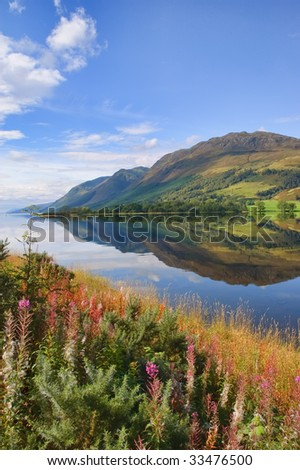 breathtaking scenic nature mountain water landscape - stock photo