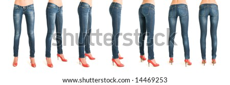 Breathtaking sequence of woman legs in rotation - stock photo