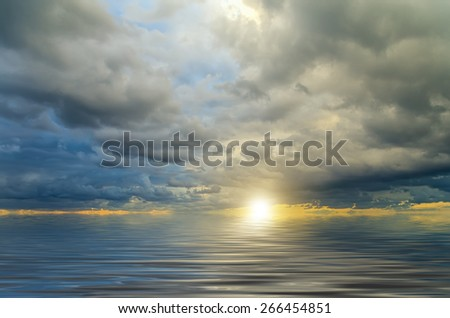 Breathtaking sunrise on the ocean - stock photo