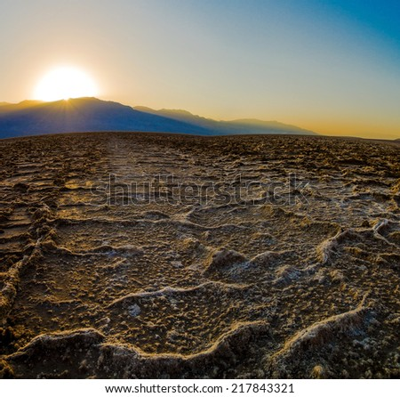 Breathtaking sunset at Badwater Death Valley National Park - stock photo