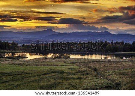 Breathtaking Sunset at Sheriff Muir in the Scottish Highlands - stock photo