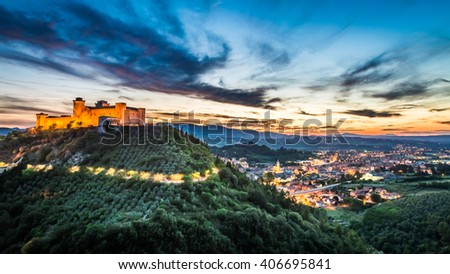 Breathtaking sunset over the castle in Spoleto, Umbria, Italy - stock photo