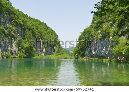 Breathtaking view in the Plitvice Lakes National Park (Croatia) - stock photo