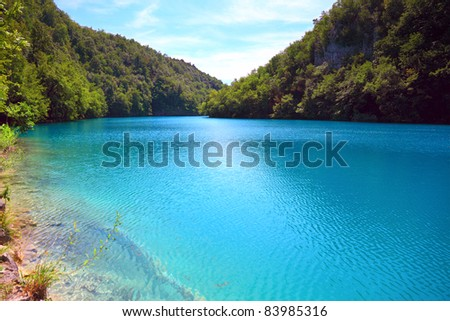 Breathtaking view in the Plitvice Lakes National Park (Croatia) - stock photo