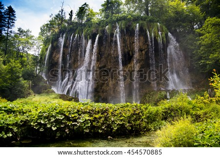 Breathtaking view in the Plitvice Lakes National Park .Croatia wallpaper background of waterfall - stock photo