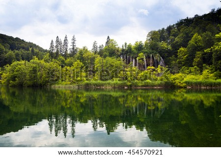Breathtaking view in the Plitvice Lakes National Park .Croatia wallpaper background of waterfall, scotland, canada - stock photo