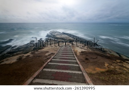 Breathtaking view of the tip of Borneo, Simpang Mengayau, Malaysia.  Image has grain or blurry or noise and soft focus when view at full resolution. (Shallow DOF, slight motion blur) - stock photo