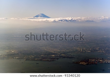 Breathtaking view of Tokyo with Mount Fuji in the background - stock photo