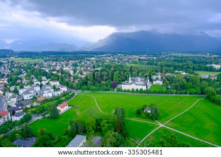 Breathtaking view seen from Hohensalzburg fortress, Salzburg, Upper Austria. - stock photo