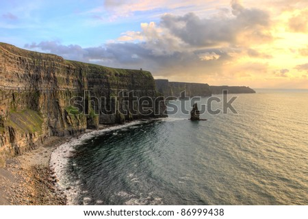 Breathtaking views of the Cliffs of Moher at sunset in Ireland - Hdr image. - stock photo
