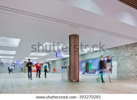 BREDA-HOLLAND-OCT. 10. Interior new railways station Breda. With seven tracks and three platforms, it is equipped for growing number of travelers, Daily around 27,000 people, in 2020 about 57,000.  - stock photo