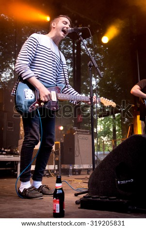BREDA, THE NETHERLANDS - SEPTEMBER 20, 2015 - Ben Stratford of As ELephants Are performs live on stage at Breda Barst festival - stock photo