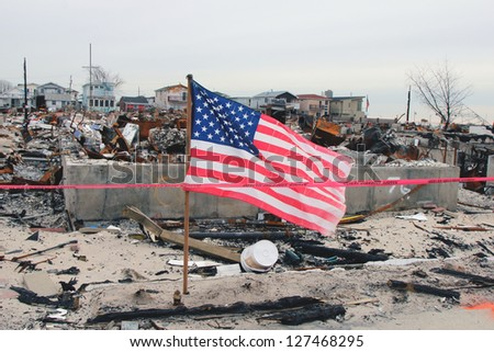 BREEZY POINT, NY- FEBRUARY 7:Hurricane devastated area in Breezy Point,NY three months after Hurricane Sandy on February 7, 2013. More than 80 houses were destroyed in out-of-control six-alarm blaze. - stock photo